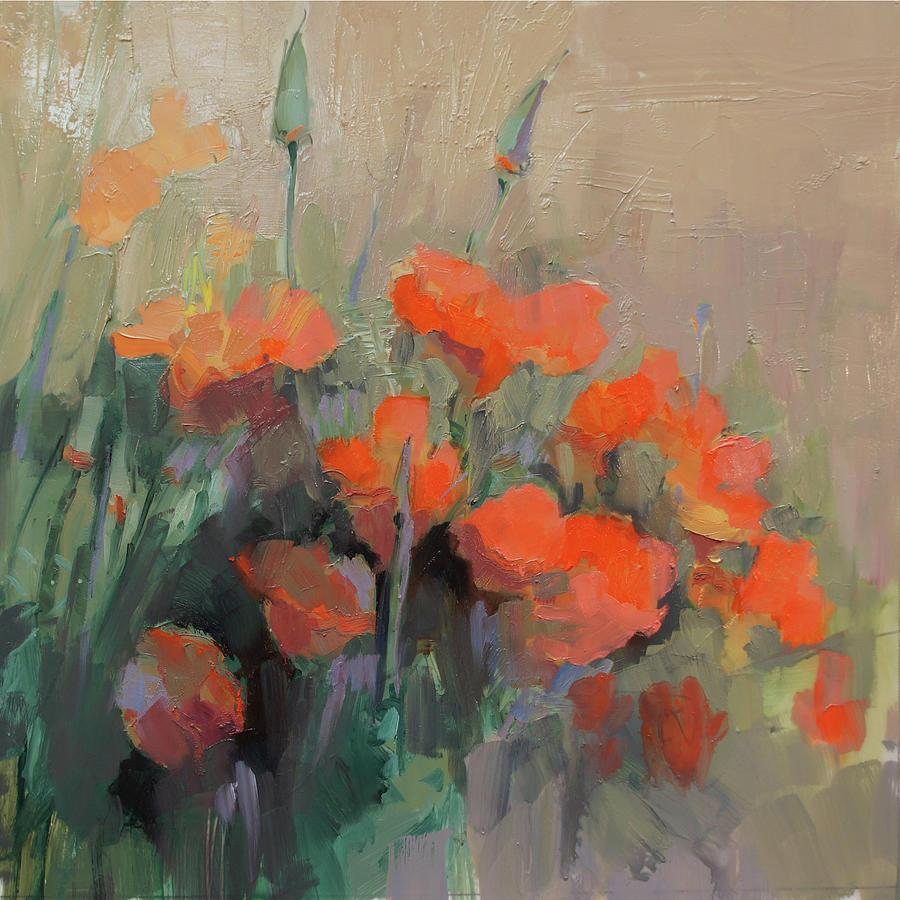 Floral Painting - Orange Poppies by Cathy Locke