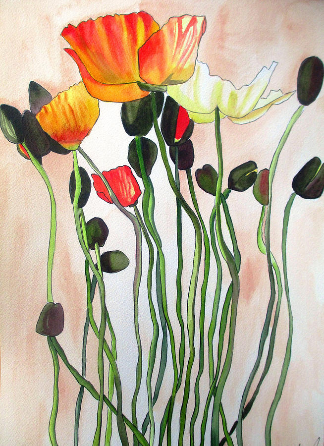 Poppies Painting - Orange Poppies by Sacha Grossel