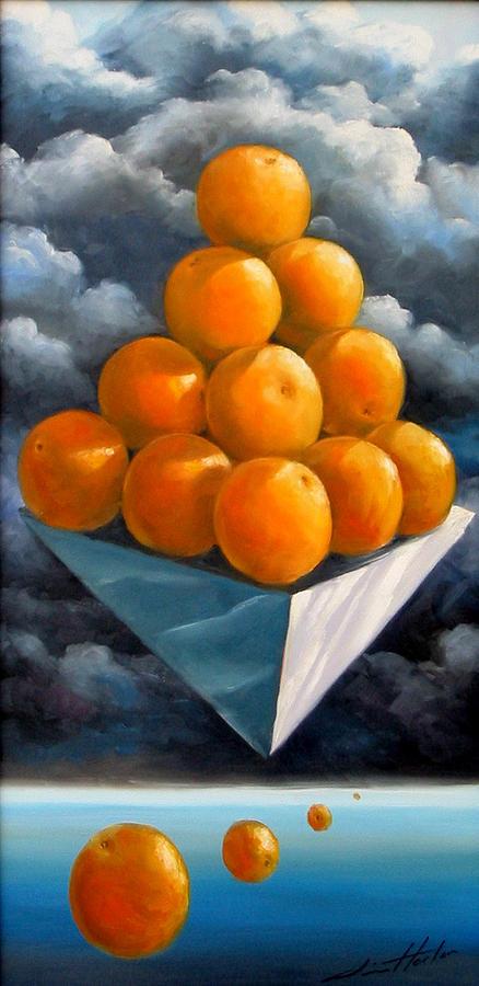 Surrealism Painting - Orange Pyramid In Space by Jim Horton
