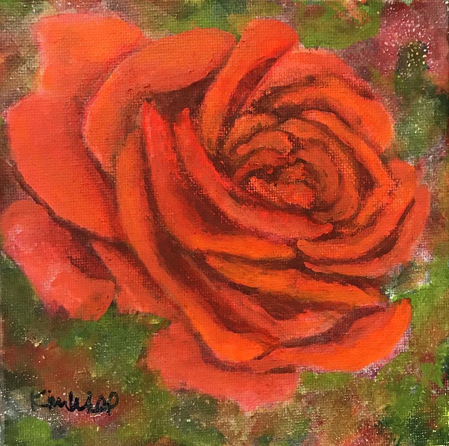 Orange Painting - Orange Rose by Kim Wall
