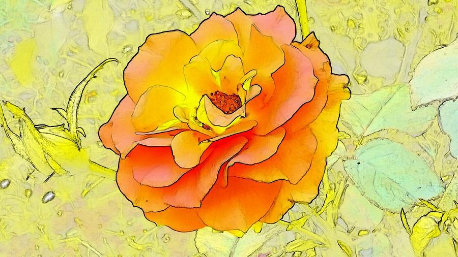 Orange Digital Art - Orange Rose by Kumiko Izumi