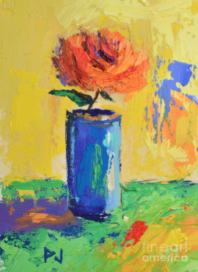 Green Painting - Orange Rose With Yellow Background by Philip Jones
