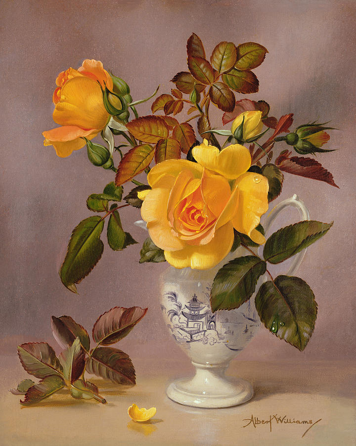 Orange Roses In A Blue And White Jug Painting By Albert