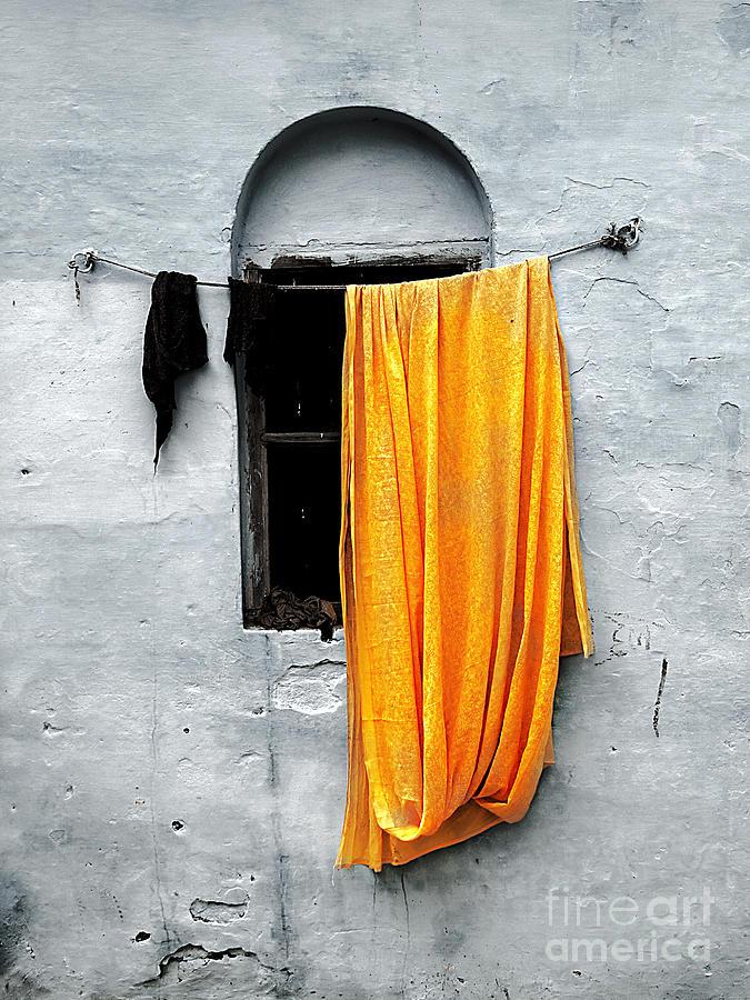 Window Photograph - Orange Sari by Derek Selander