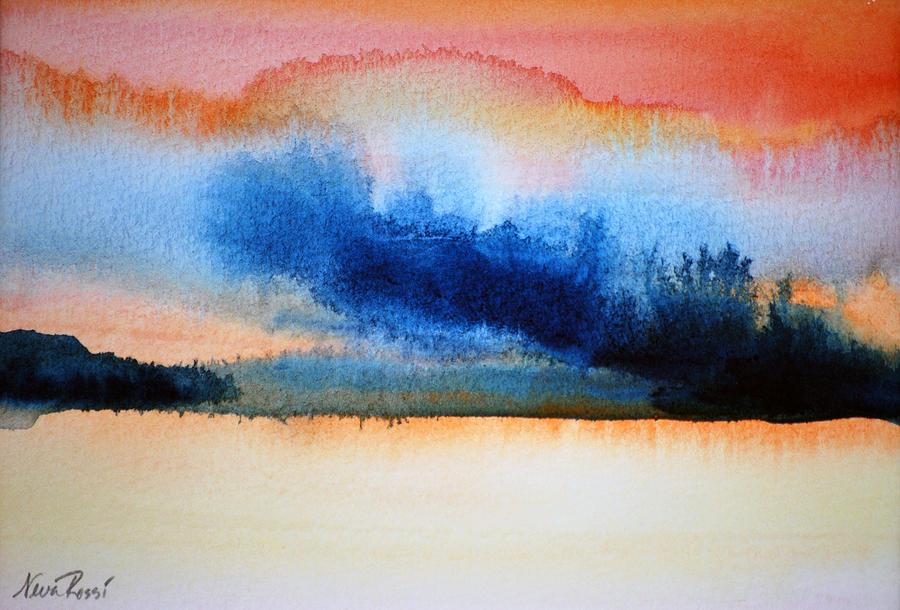 Landscape Painting - Orange Solitude by Neva Rossi