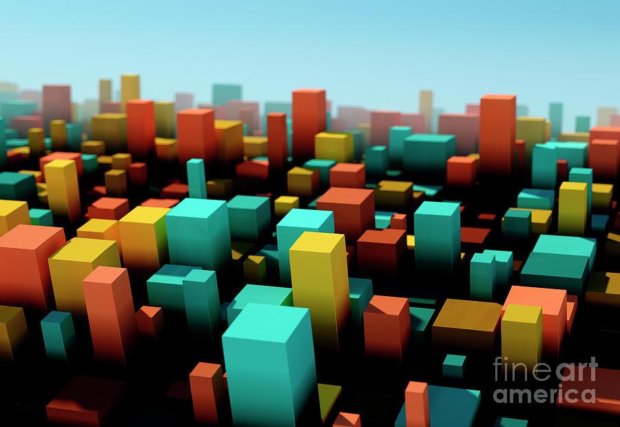 Design Digital Art - Orange Square Variation Pattern Abstract 3D Cityscape DOF by Frank Ramspott