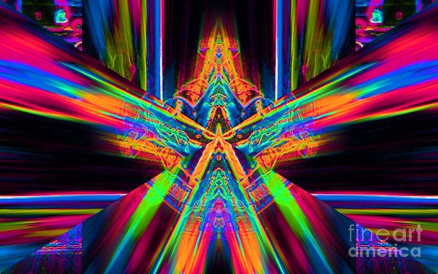 Abstract Digital Art - Orange Star by Lorles Lifestyles