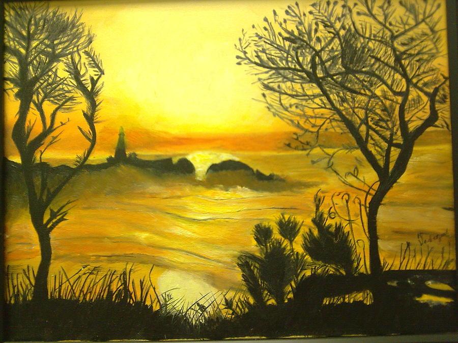 Orange Sunset By The Lighthouse Painting - Orange Sunset by Helen Vanterpool