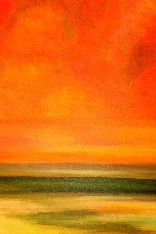 Landscape Painting - Orange Sunset by Marcia Crispino
