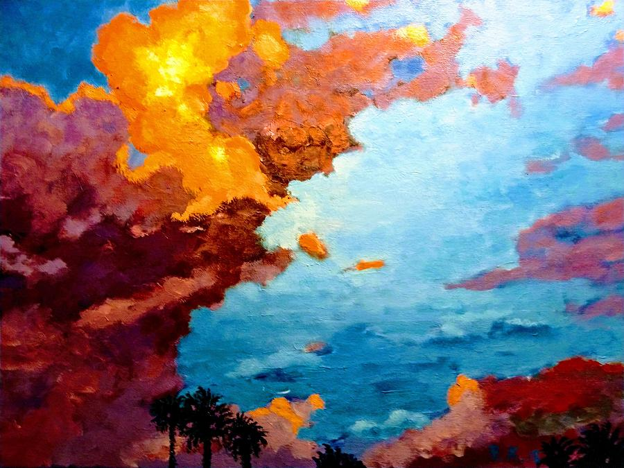 Sunset Painting - Orange Sunset by Ray Khalife