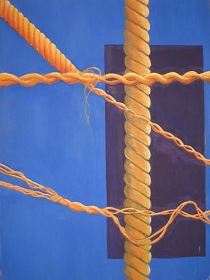 Orange Thread Painting by Deniz OZESKICI