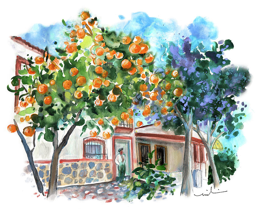 Orange Tree And Jacaranda In Turre In Andalucia Painting By Miki