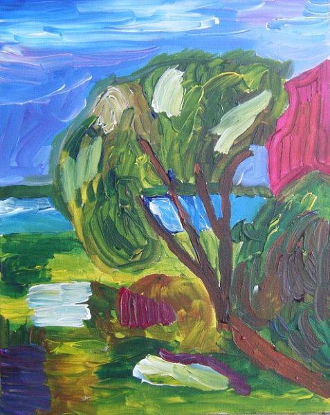 Landscape Painting - Orange Tree by John Bisbee