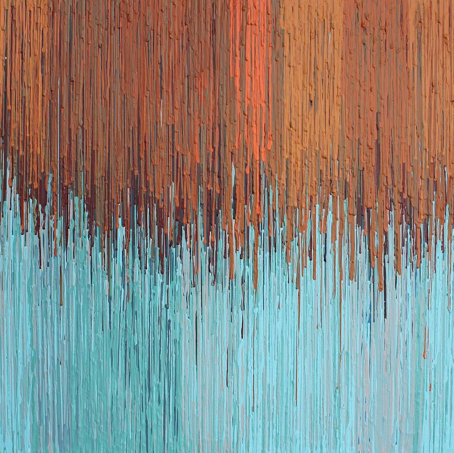 Abstract Painting - Orange Turquoise  by Kate Tesch