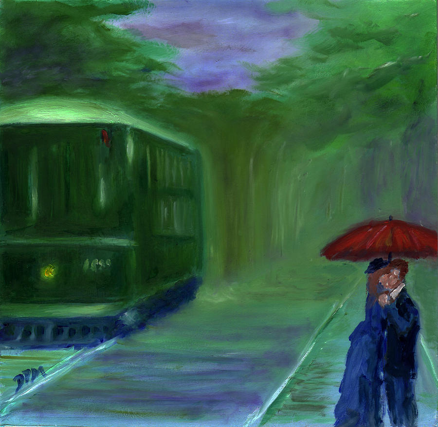 Rail Car Painting - Orange Umbrella- I by David McGhee