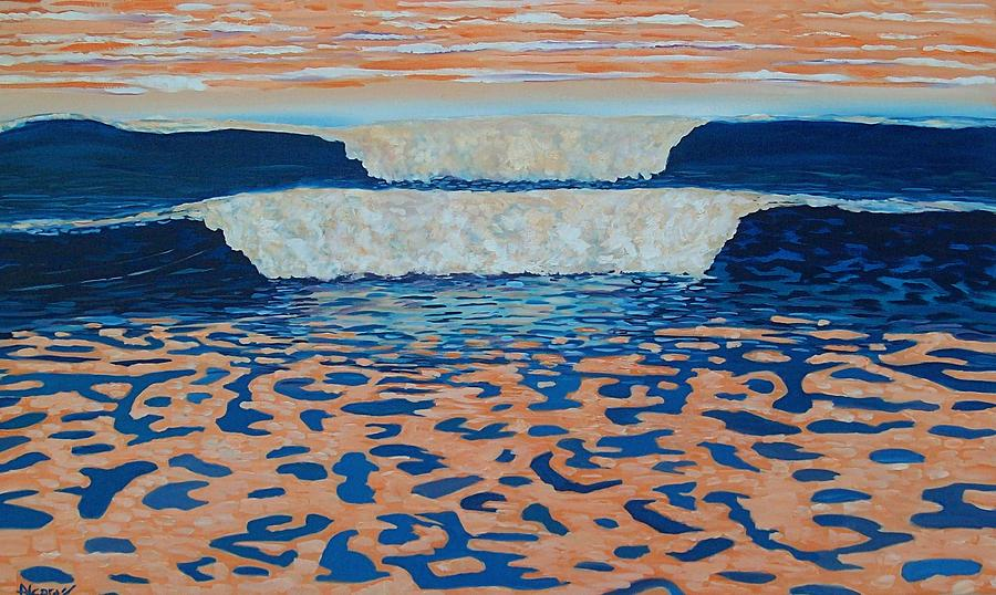 Orange Waves Painting by Enrique Alcaraz
