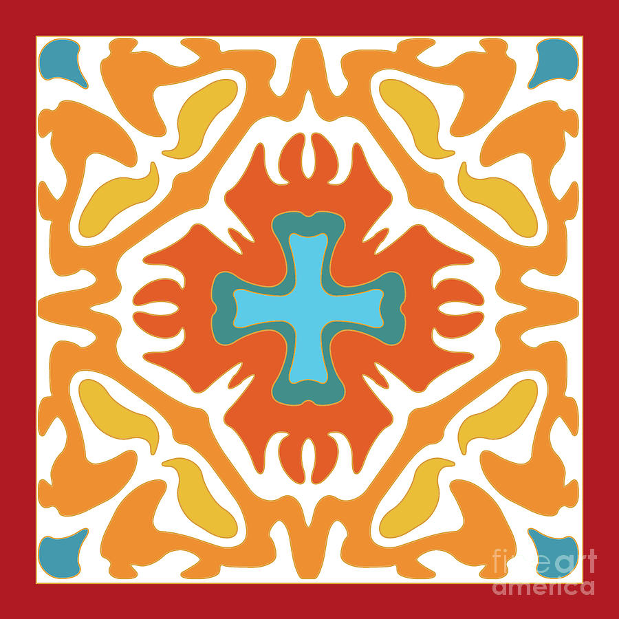 Orange with Blue Accent Abstract by Melissa A Benson
