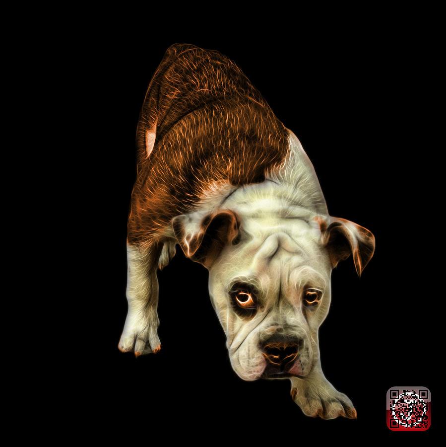 Bulldog Painting - Orangeenglish Bulldog Dog Art - 1368 - Bb by James Ahn