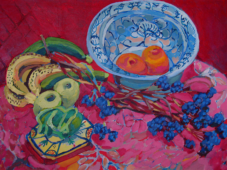 Oranges And Chinese Bowl Painting by Doris  Lane Grey