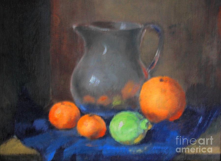 Orange Painting - Oranges Citron And Glazed Pot by L Van den Bossche