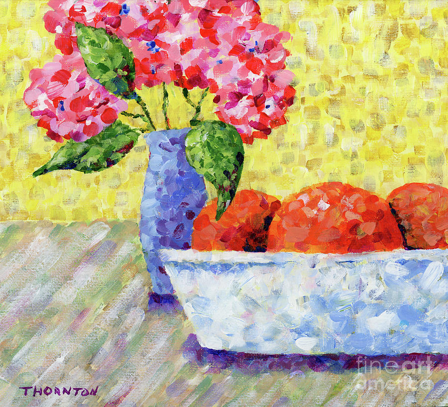 Oranges in Bowl with Flowers by Diane Thornton