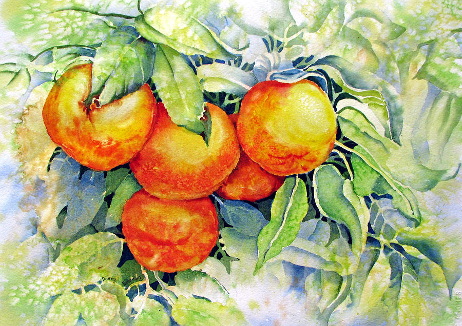 Oranges Painting - Oranges-in-italy by Nancy Newman