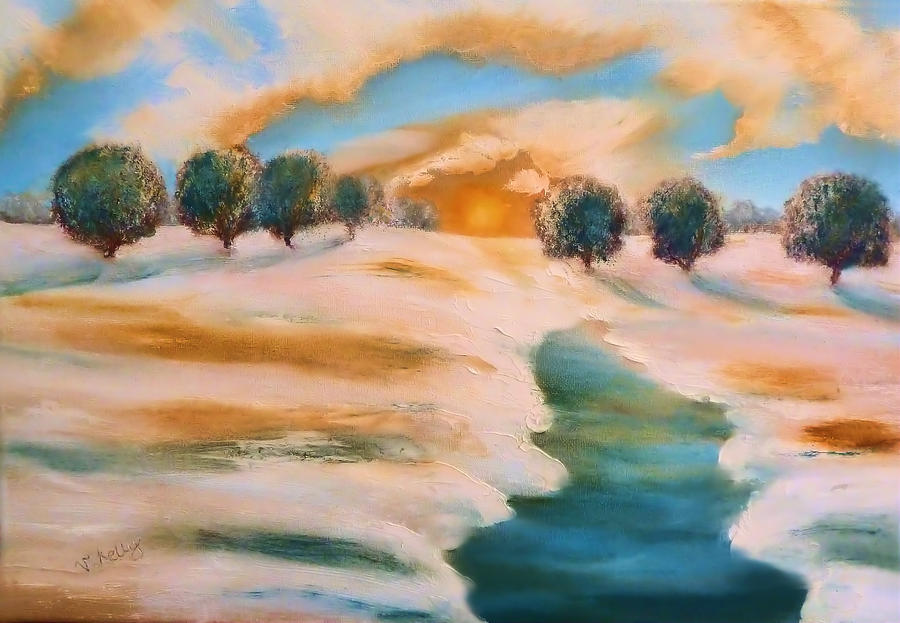 Landscape Painting - Oranges In The Snow-landscape Painting By V.kelly by Valerie Anne Kelly