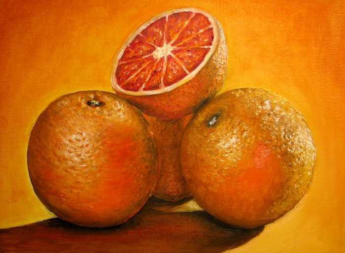 Oranges Painting - Oranges  Original Oil Painting by Natalja Picugina