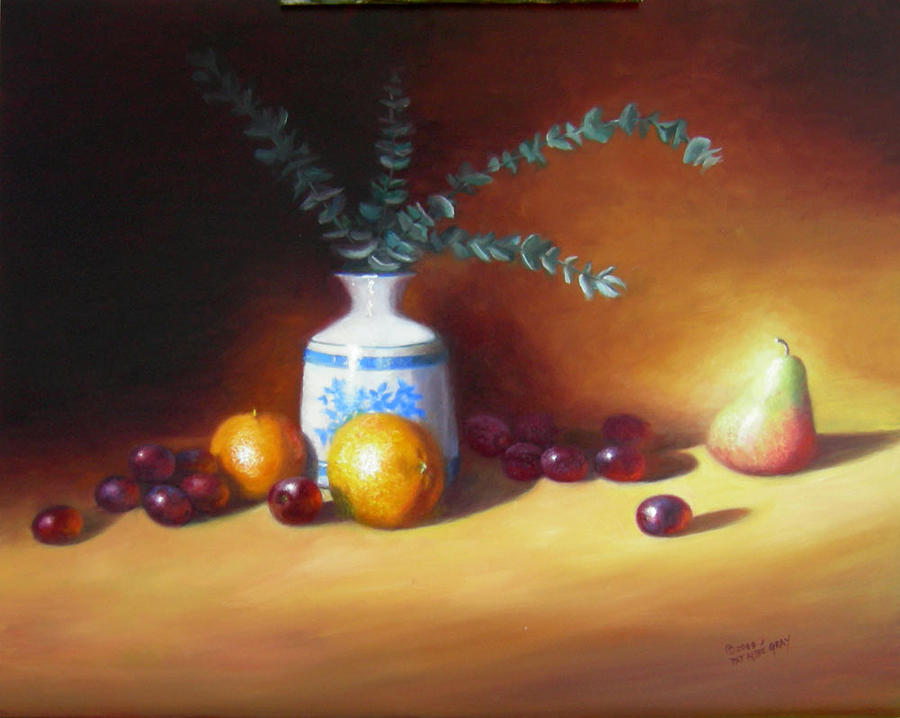 Oil Painting Painting - Oranges Pear And Eucalyptus by Pat Aube Gray