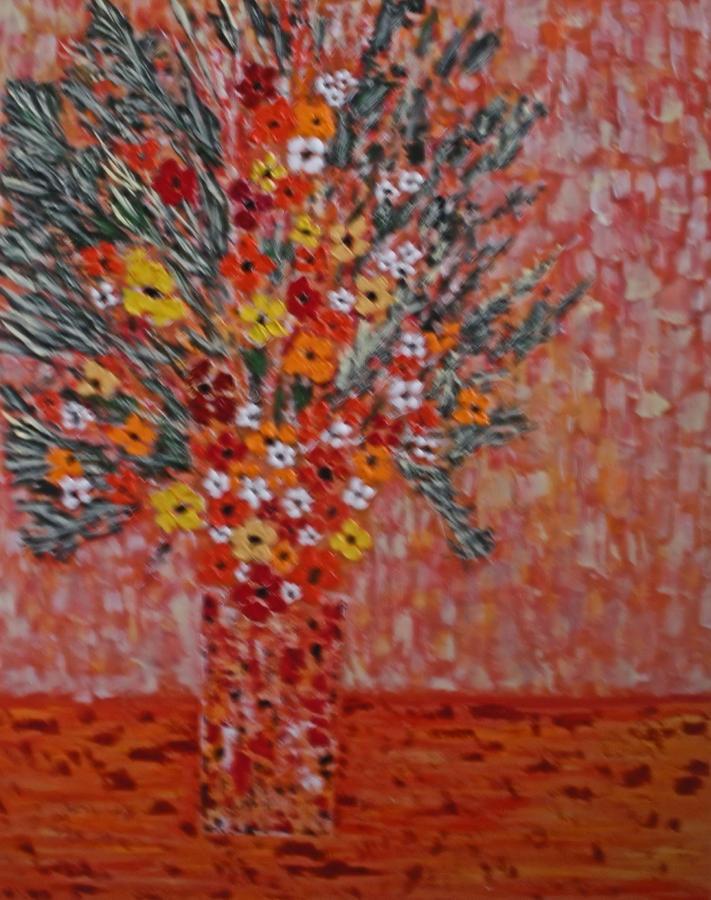 Flowers Painting - Orangey by Hema Rana