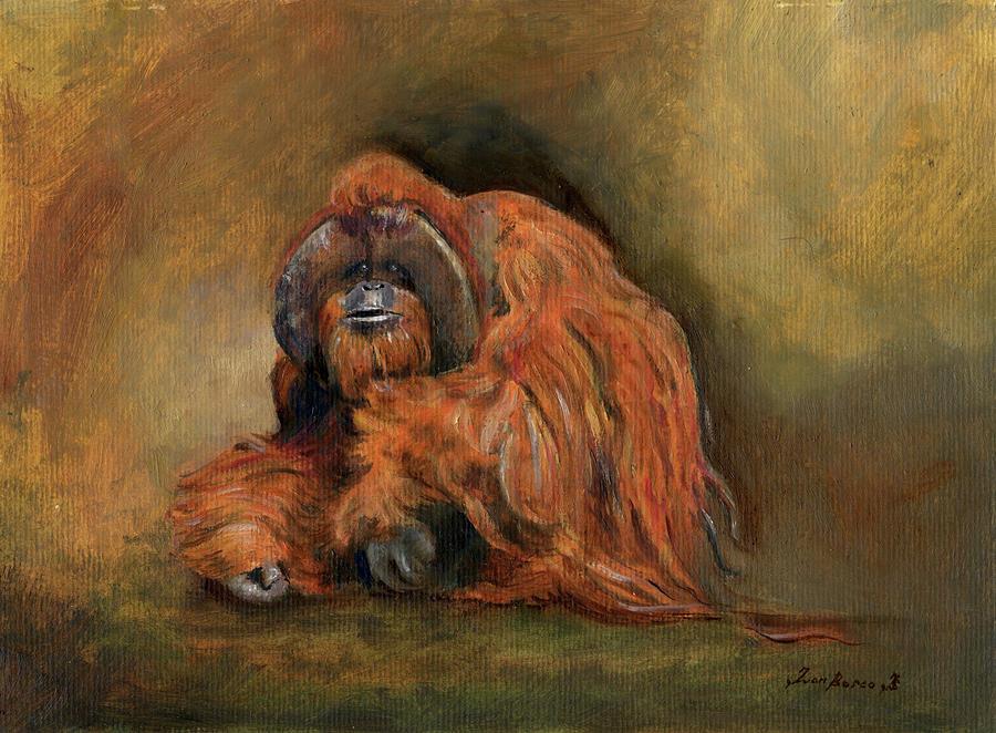 Monkey Painting Painting - Orangutan Monkey by Juan Bosco