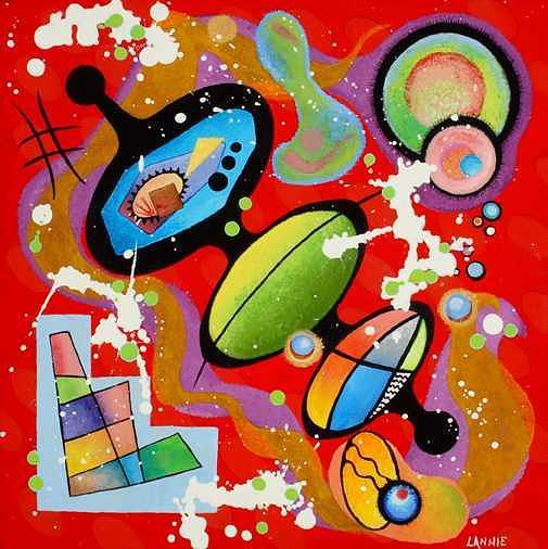 Orbitville I Painting by Leann Harding