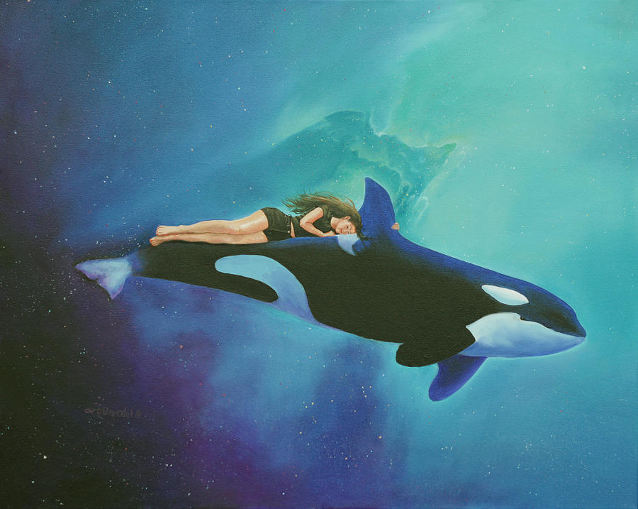 Orca Rider Painting By Cecilia Brendel