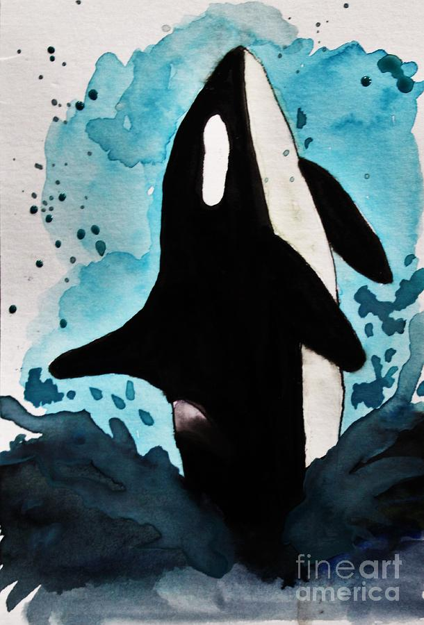 Orca Watercolor Painting Painting by LKB Art and Photography