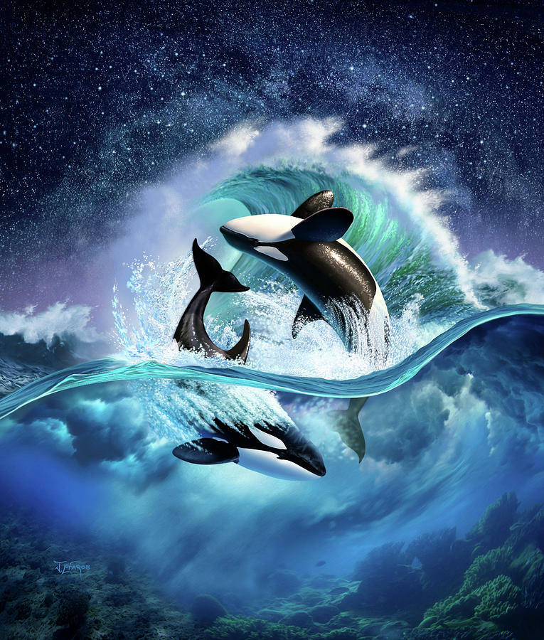 Orca Digital Art - Orca Wave by Jerry LoFaro