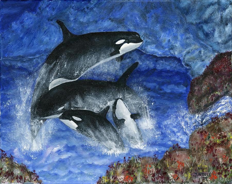 Killer Whales Painting - Orcas Family Frolicks by Tanna Lee M Wells
