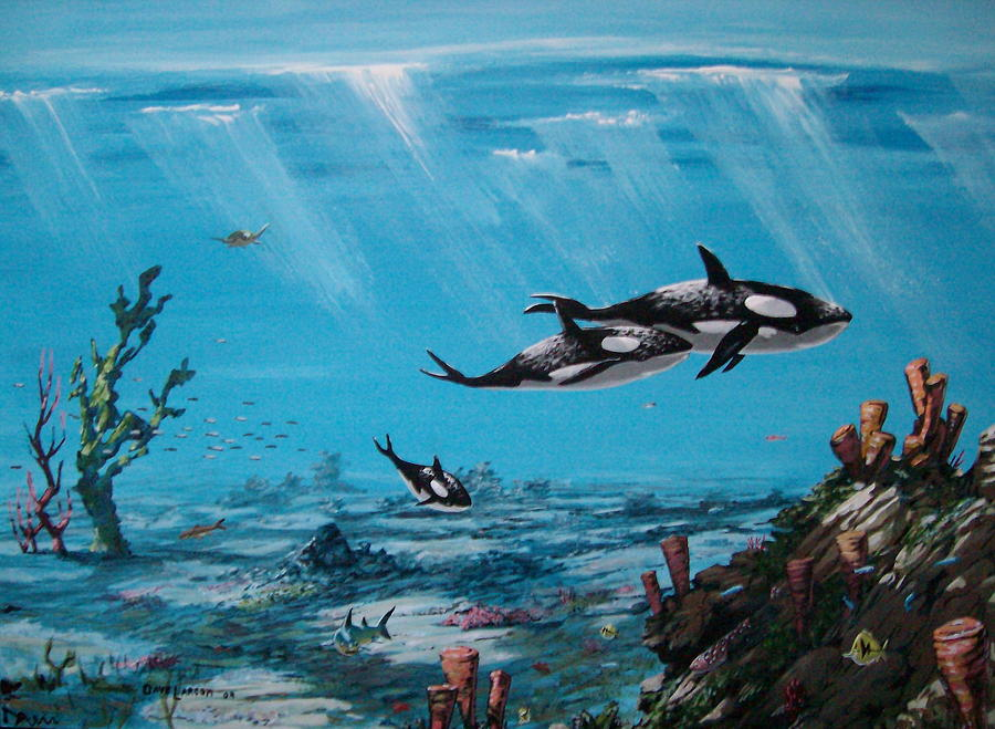 Orca Painting - Orcas Realm by David  Larcom