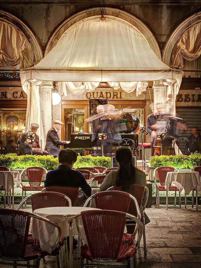 Venice Photograph - Orchestra At Ristorante Quadri On St Marks Square - Venice by Barry O Carroll