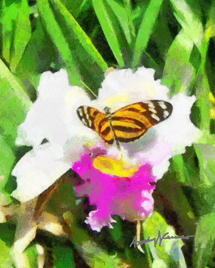 Flower Painting - Orchid And Butterfly by Anthony Caruso