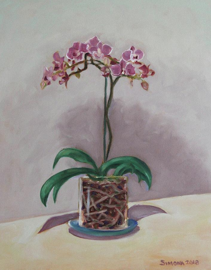 Orchid And Roots Painting by Simona Hernandez