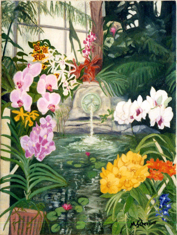 Landscape Painting - Orchid Collage by Maxine Schreiber
