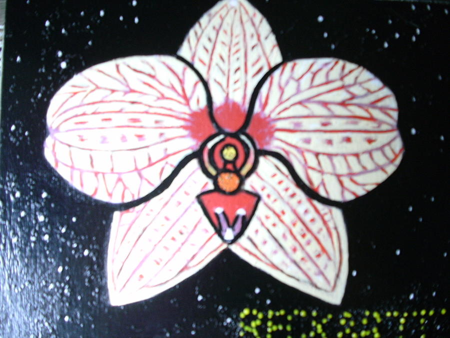 Orchid In Space Painting by Becky Jenney