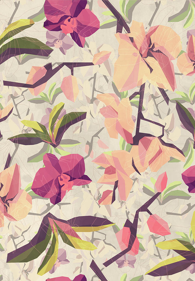 Orchid Digital Art - Orchid Pattern by Vess DSign