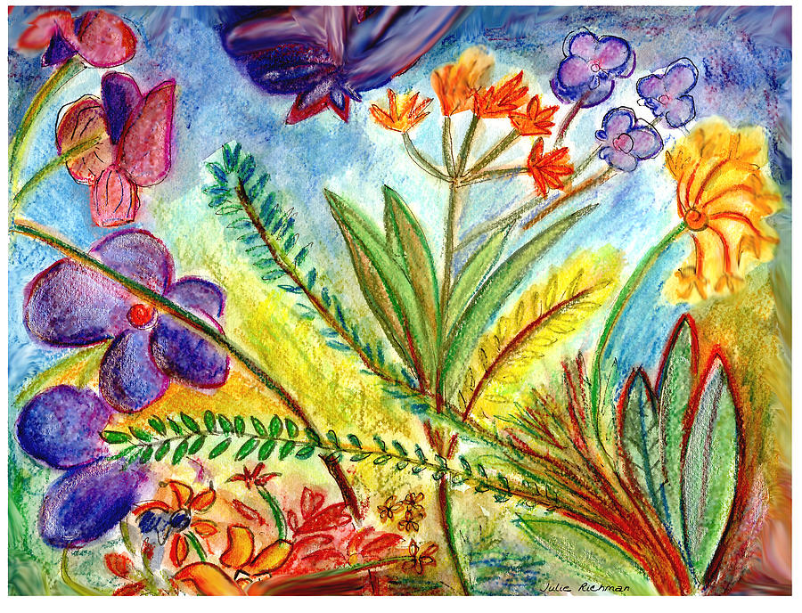 Flowers Painting - Orchids and more by Julie Richman