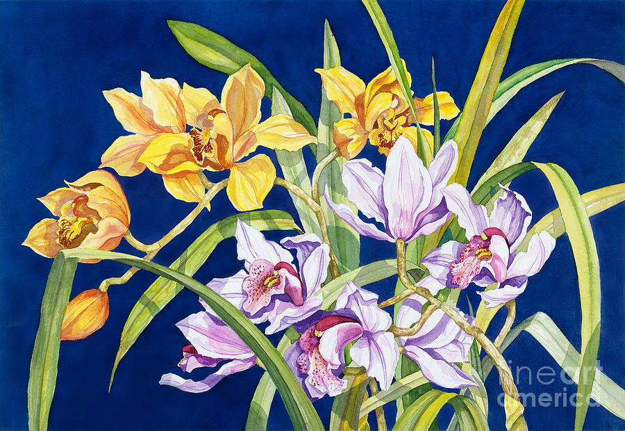 Orchids Painting - Orchids In Blue by Lucy Arnold