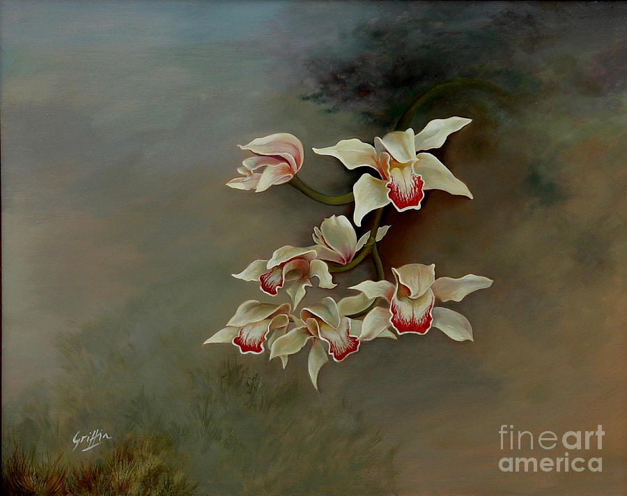 Flowers Painting - Orchids In Morning Mist by Mai Griffin