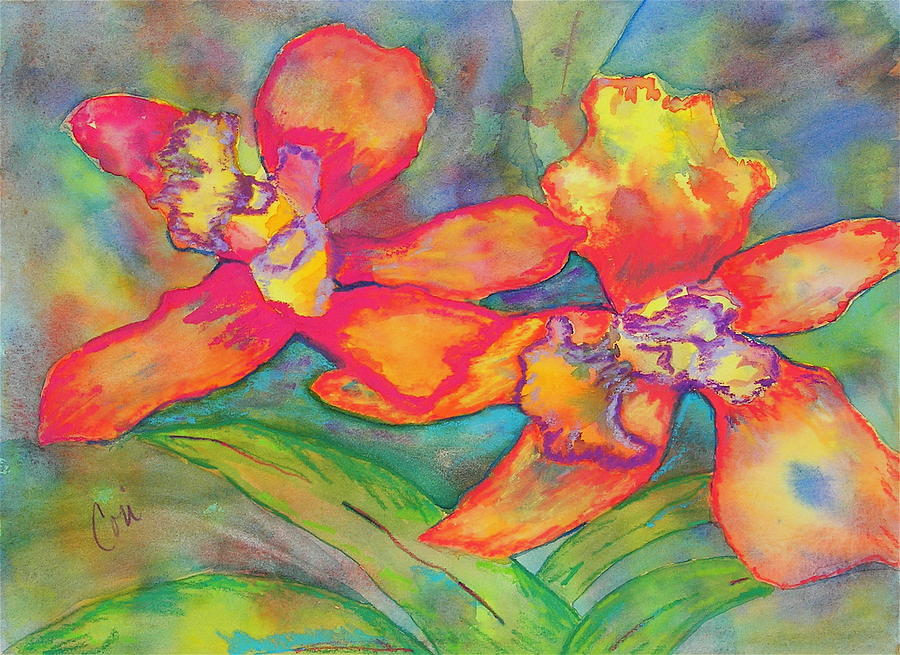 Flowers Painting - Orchids In Paradise by Cori Solomon