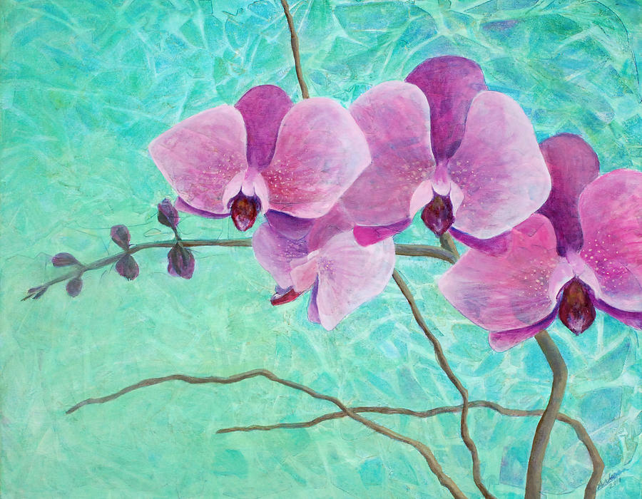 Flower Painting - Orchids In Pink by Arlissa Vaughn