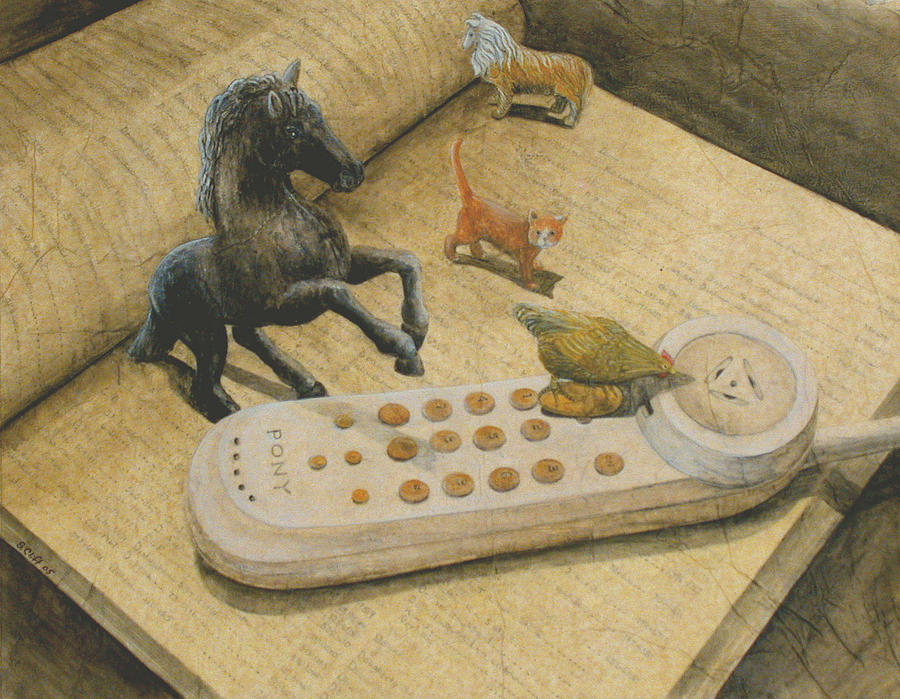 Animals Painting - Ordering Pizza by Sandy Clift