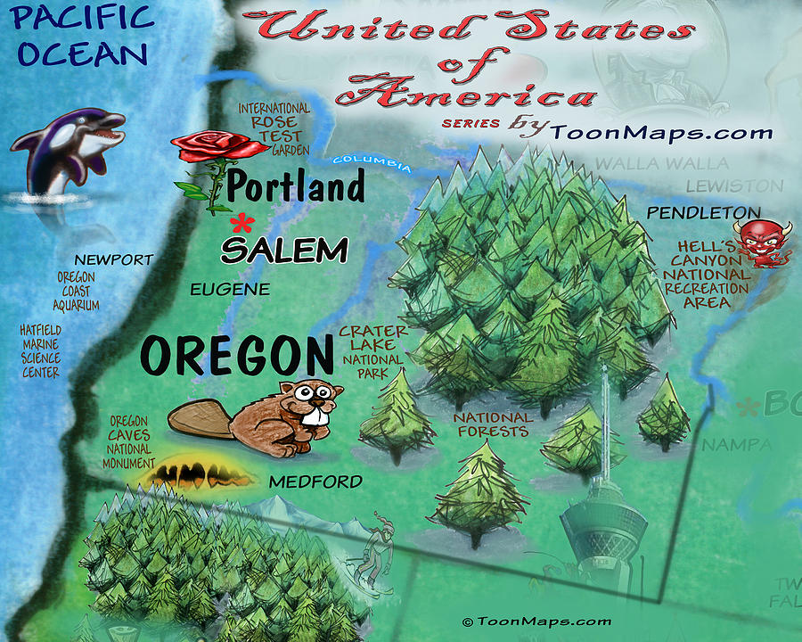 Oregon Fun Map Digital Art